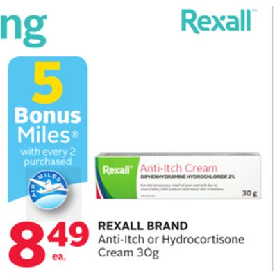 Rexall Brand Anti-itch or Hydrocortisone Cream - 5 Bonus Air Miles Reward Miles