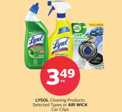 Lysol Cleaning Products or Air Wick Car Clips