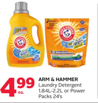 Arm & Hammer Laundry Detergent 1.84l-2.2l or Power Packs 24's