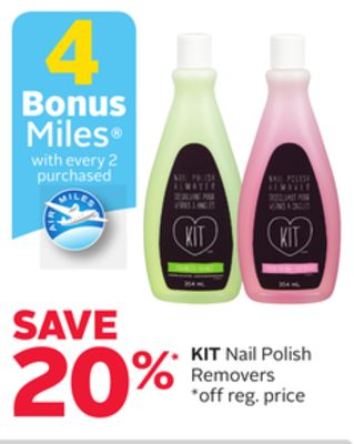 Kit Nail Polish Removers - 4 Bonus Air Miles Reward Miles