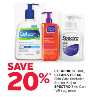 Cetaphil 500ml - Clean & Clear Skin Care or Spectro Skin Care