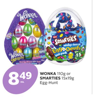 Wonka 110g or Smarties 15x19g Egg-hunt