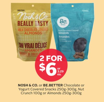 Nosh & Co. or Be.better Chocolate or Yogurt Covered Snacks 250g-300g - Nut Crunch 100g or Almonds