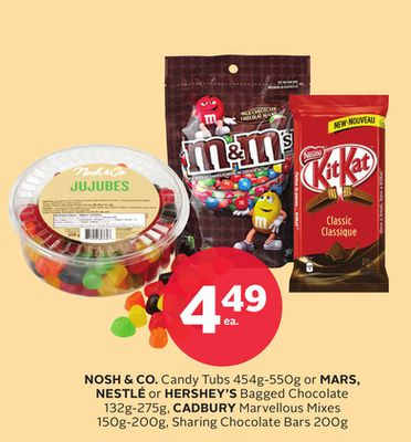 Nosh & Co. Candy Tubs 454g-550g or Mars - Nestlé or Hershey's Bagged Chocolate 132g-275g - Cadbury Marvellous Mixes 150g-200g - Sharing Chocolate Bars 200g