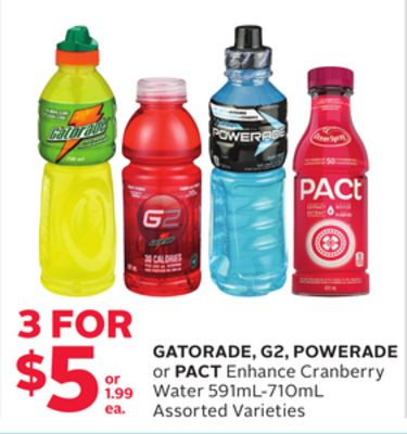 Gatorade - G2 - Powerade or Pact Enhance Cranberry Water