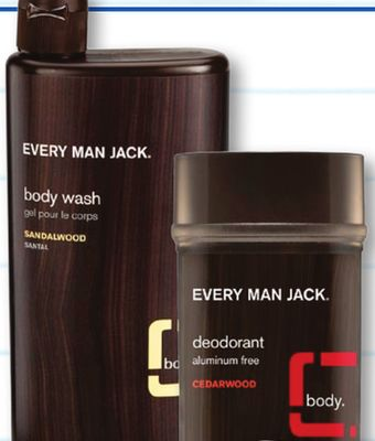 Every Man Jack Body Wash and Shower Gel Cedarwood Description: Deep clean to remove dirt and grime without over-drying skin. Coconut-derived surfactants cleanse, essential oils of Rosemary and Sage refresh, and hydrating Glycerin helps moisturize skin.