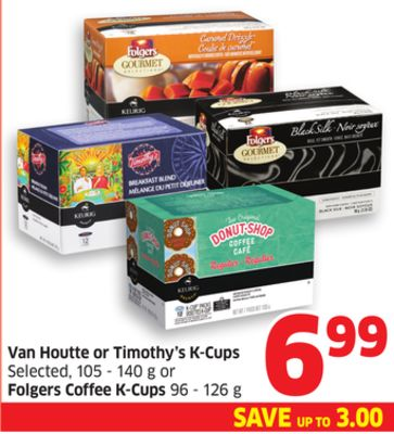 Van Houtte or Timothy's K-cups Selected - 105 - 140 g or Folgers Coffee K-cups 96 - 126 g