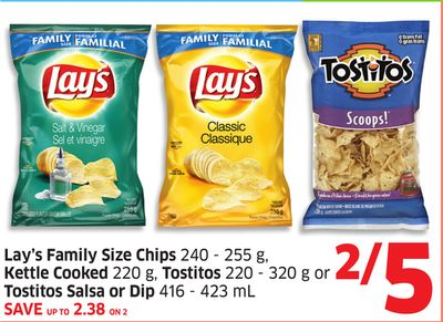 Lay's Family Size Chips 240 - 255 g - Kettle Cooked 220 g - Tostitos 220 - 320 g or Tostitos Salsa or Dip 416 - 423 mL