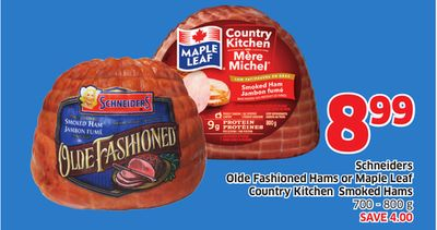 Schneiders Olde Fashioned Hams or Maple Leaf Country Kitchen Smoked Hams 700 - 800 g