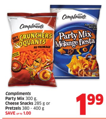Compliments Party Mix 300 g - Cheese Snacks 285 g or Pretzels 380 - 400 g