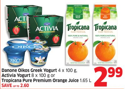 Danone Oikos Greek Yogurt 4 X 100 g - Activia Yogurt 8 X 100 g or Tropicana Pure Premium Orange Juice 1.65 L