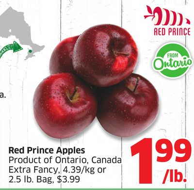 Red Prince Apples Product of Ontario - Canada Extra Fancy - 4.39/kg or 2.5 Lb. Bag - $3.99