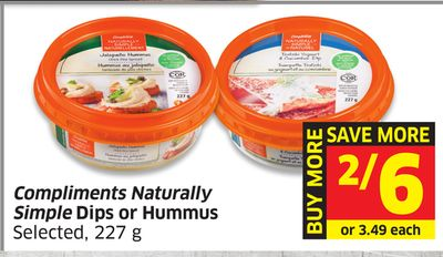 Compliments Naturally Simple Dips or Hummus Selected - 227 g