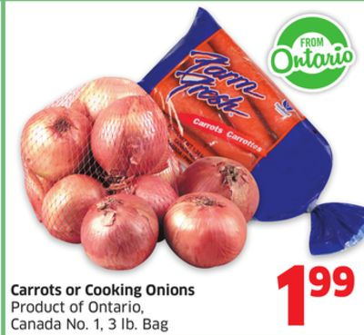 Carrots or Cooking Onions Product of Ontario - Canada No. 1 - 3 Lb. Bag