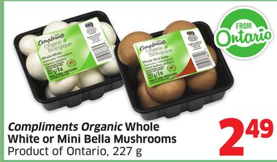 Compliments Organic Whole White or Mini Bella Mushrooms Product of Ontario - 227 g