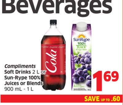 Compliments Soft Drinks 2 L or Sun-rype 100% Juices or Blends 900 mL - 1 L