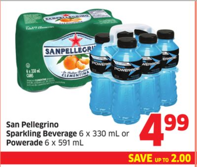 San Pellegrino Sparkling Beverage 6 X 330 mL or Powerade 6 X 591 M