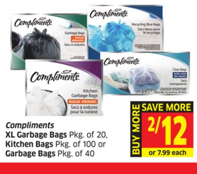 Compliments Xl Garbage Bags Pkg of 20 - Kitchen Bags Pkg of 100 or Garbage Bags Pkg of 40