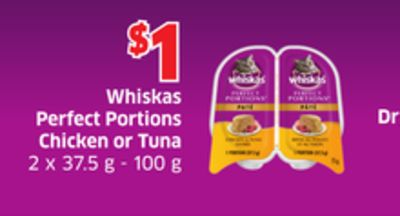 Whiskas Perfect Portions Chicken or Tuna 2 X 37.5 g - 100 g