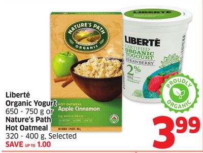 Liberté Organic Yogurt 650 - 750 g or Nature's Path Hot Oatmeal 320 - 400 g - Selected