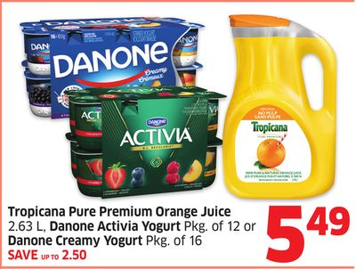 Tropicana Pure Premium Orange Juice 2.63 L - Danone Activia Yogurt Pkg of 12 or Danone Creamy Yogurt Pkg of 16