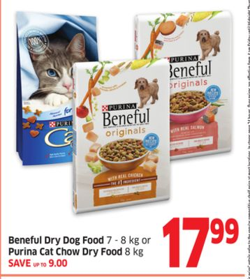 Beneful Dry Dog Food 7 - 8 Kg or Purina Cat Chow Dry Food 8 Kg