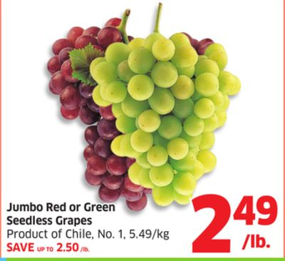 Jumbo Red or Green Seedless Grapes Product of Chile - No. 1 - 5.49/kg