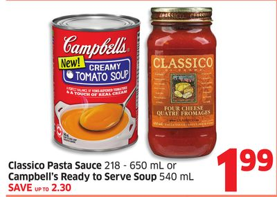 Classico Pasta Sauce 218 - 650 mL or Campbell's Ready To Serve Soup 540 mL