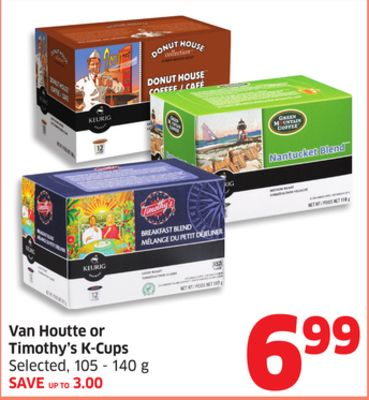 Van Houtte or Timothy's K-cups Selected - 105 - 140 g