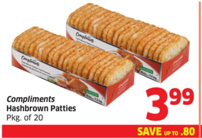 Compliments Hashbrown Patties Pkg of 20