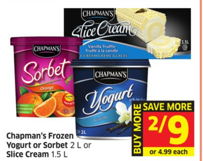 Chapman's Frozen Yogurt or Sorbet 2 L or Slice Cream 1.5 L