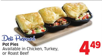 Pot Pies Available In Chicken - Turkey - or Roast Beef