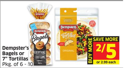Dempster's Bagels or 7'' Tortillas Pkg of 6 - 10