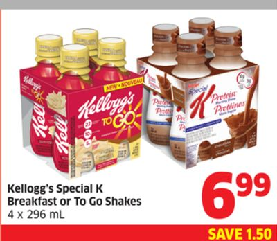 Kellogg's Special K Breakfast or To Go Shakes 4 X 296 mL