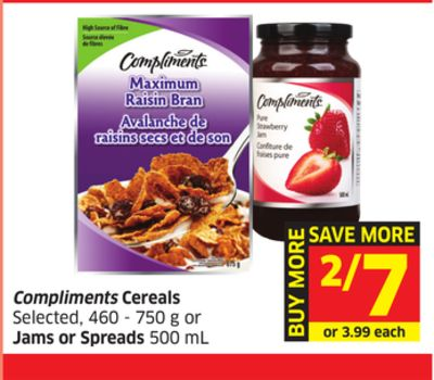 Compliments Cereals Selected - 460 - 750 g or Jams or Spreads - 500 mL