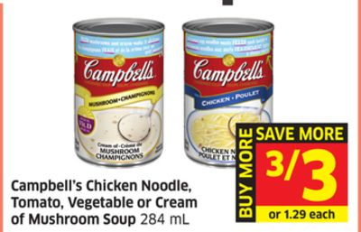 Campbell's Chicken Noodle - Tomato - Vegetable or Cream of Mushroom Soup 284 mL
