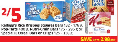 Kellogg's Rice Krispies Squares Bars 132 - 176 g - Pop-tarts 400 g - Nutri-grain Bars 175 - 295 g or Special K Cereal Bars or Crisps 125 - 138 g