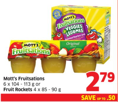 Mott's Fruitsations 6 X 104 - 113 g or Fruit Rockets 4 X 85 - 90 g