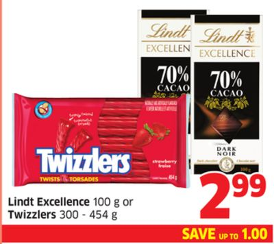 Lindt Excellence 100 g or Twizzlers 300 - 454 g