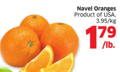 Navel Oranges Product of USA - 3.95/kg