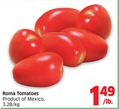Roma tomatoes product of mexico 3 28 kg