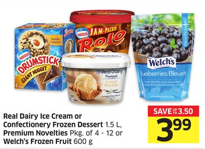 Real Dairy Ice Cream or Confectionery Frozen Dessert 1.5 L - Premium Novelties Pkg of 4 - 12 or Welch's Frozen Fruit 600 g