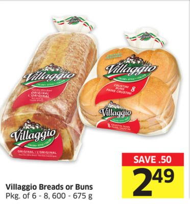 Villaggio Breads or Buns Pkg of 6 - 8 - 600 - 675 g