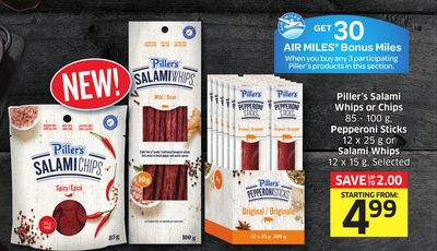 Piller's Salami Whips or Chips 85 - 100 g - Pepperoni Sticks 12 X 25 g or Salami Whips 12 X 15 g - Selected