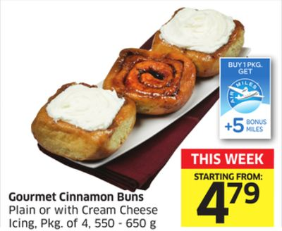 Gourmet Cinnamon Buns Plain or With Cream Cheese Icing - Pkg of 4 - 550 - 650 g