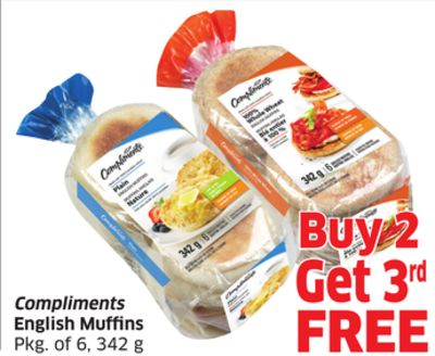 Compliments English Muffins Pkg of 6 - 342 g