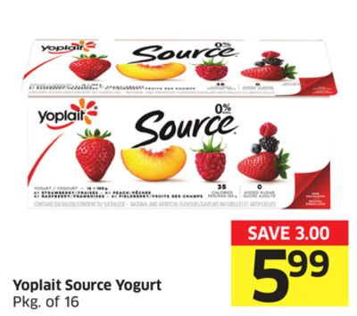 Yoplait Source Yogurt Pkg of 16
