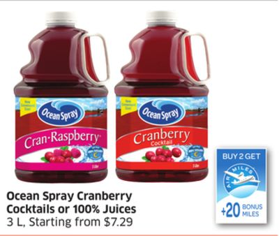 Ocean Spray Cranberry Cocktails or 100% Juices 3 L