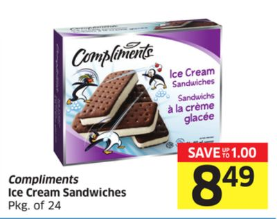 Compliments Ice Cream Sandwiches Pkg of 24