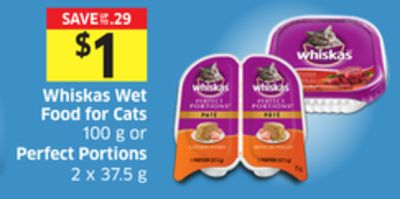 Whiskas Wet Food For Cats 100 g or Perfect Portions 2 X 37.5 g
